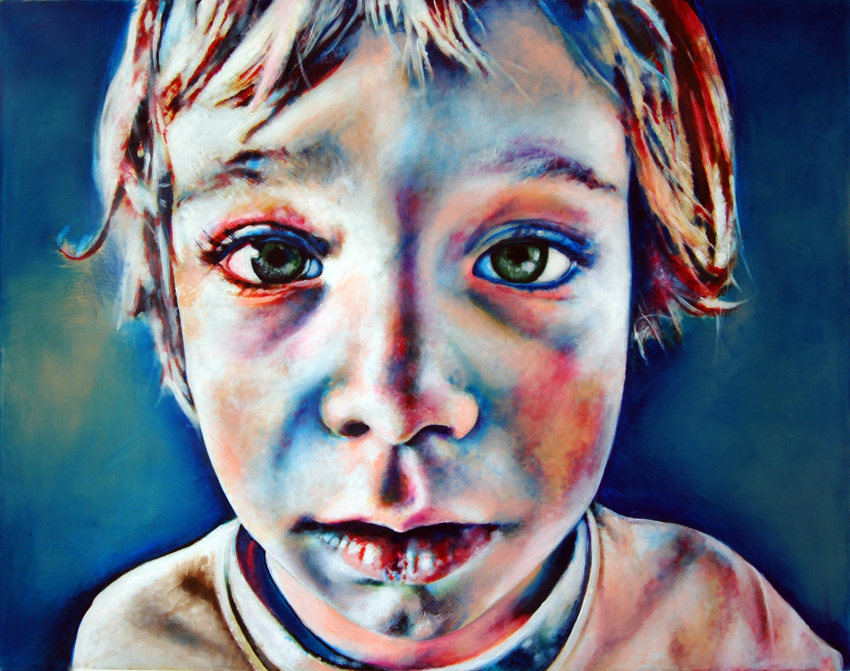 Painting of child's face, acrylics on canvas by Barbara Agreste.