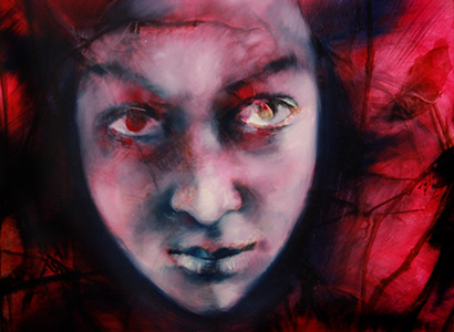 Painting of Evil face, oil on canvas by Barbara Agreste.