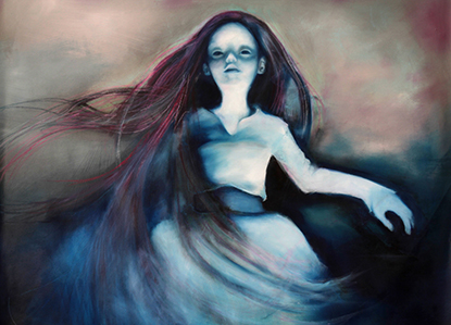 Ghost. Oil Painting of a doll, part of the Ophelia Pop Surrealism series by Barbara Agreste.