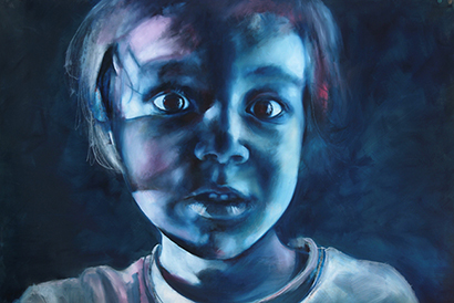 Painting of a Fearful Child's face. This art-work wants to convey a feeling of helplessness in children.