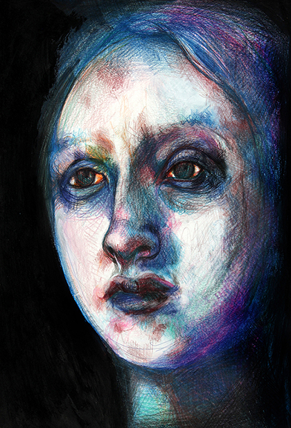 Drawing of Virginia Woolf face, portrait by Barbara Agreste. Pastels on acid-free paper.