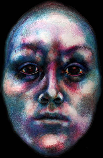 drawing of woman with fearful face, pastels on paper by Barbara Agreste