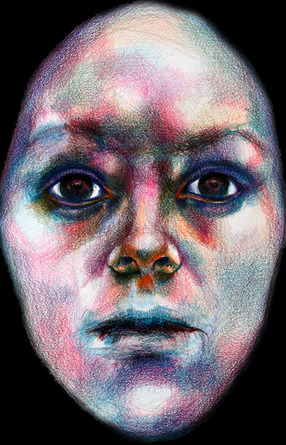 Drawing of woman's face, pastels on acid-free paper, by Barbara Agreste.