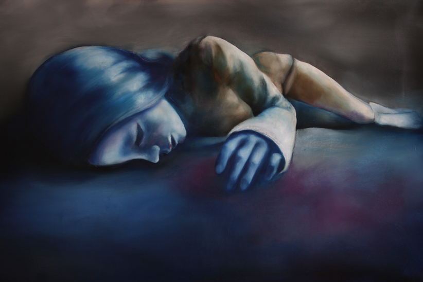 "Earth: from ""The Catharsis of Ophelia"" series, painting of a doll sleeping, oil on canvas by Barbara Agreste."