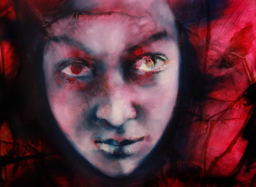 Evil is a painting of a woman's face with evil eyes... Oil on canvas by Barbara Agreste.