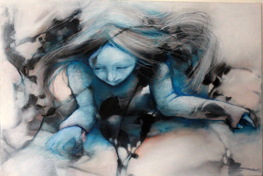 "Painting - portrait of a Doll from ""The Catharsis of Ophelia"" series, art by Barbara Agreste."