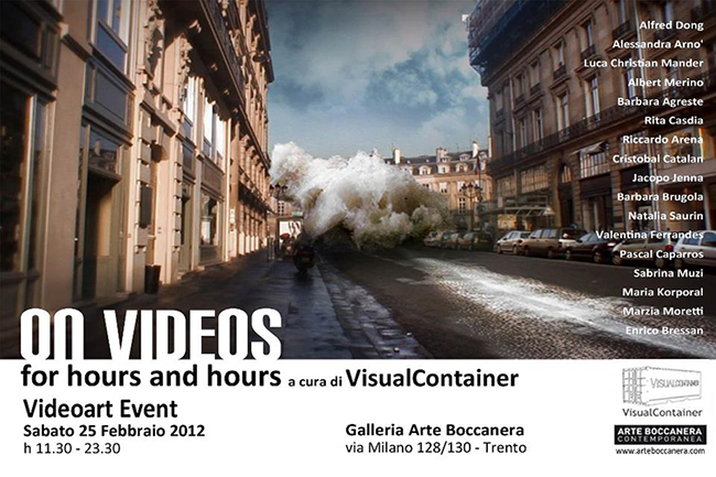On Videos For Hours And Hours, special video art and new media screening, international artists.