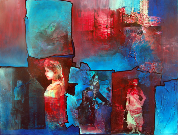 Collage painting of a City with blue light from TV screen, and portrait of young woman, by Artist Barbara Agreste.