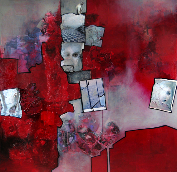 chain-ripped-red-blood-painting-on-canvas-collage