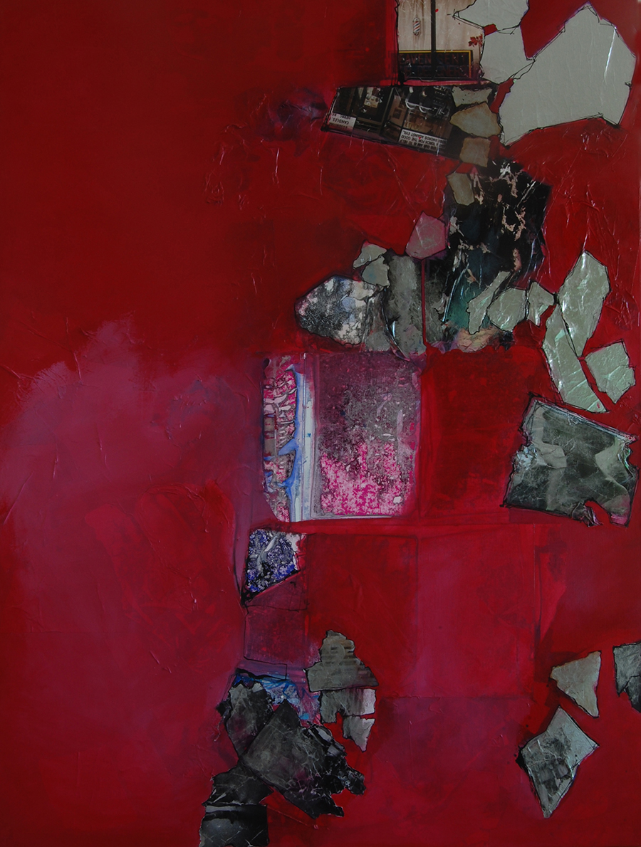 chain-ripped-windows-red-blood-painting-on-canvas-collage