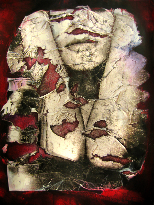 blood-painting-on-canvas-collage-ripped-red-paint