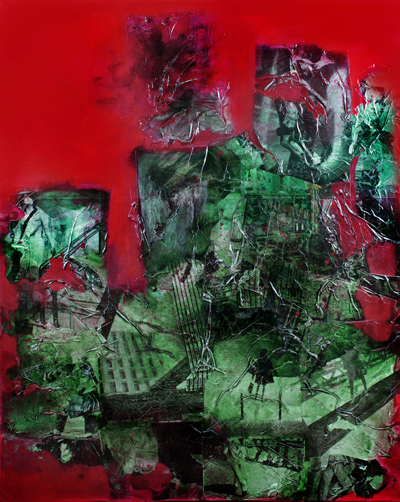 staircases-red-blood-painting-on canvas-collage