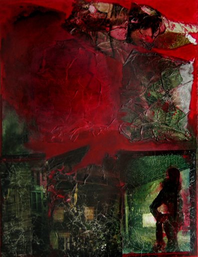 staircases-red-blood-painting-on-canvas-collage