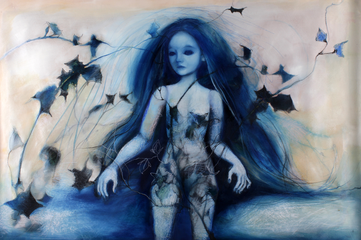 ophelia, art, oil, painting on canvas, doll