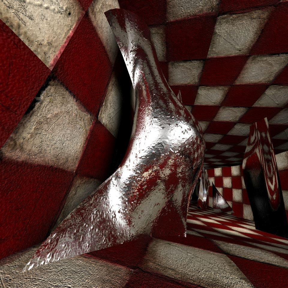Animation with checkered walls in a tunnel, made with computer 3D software. Video art, Film by Barbara Agreste.