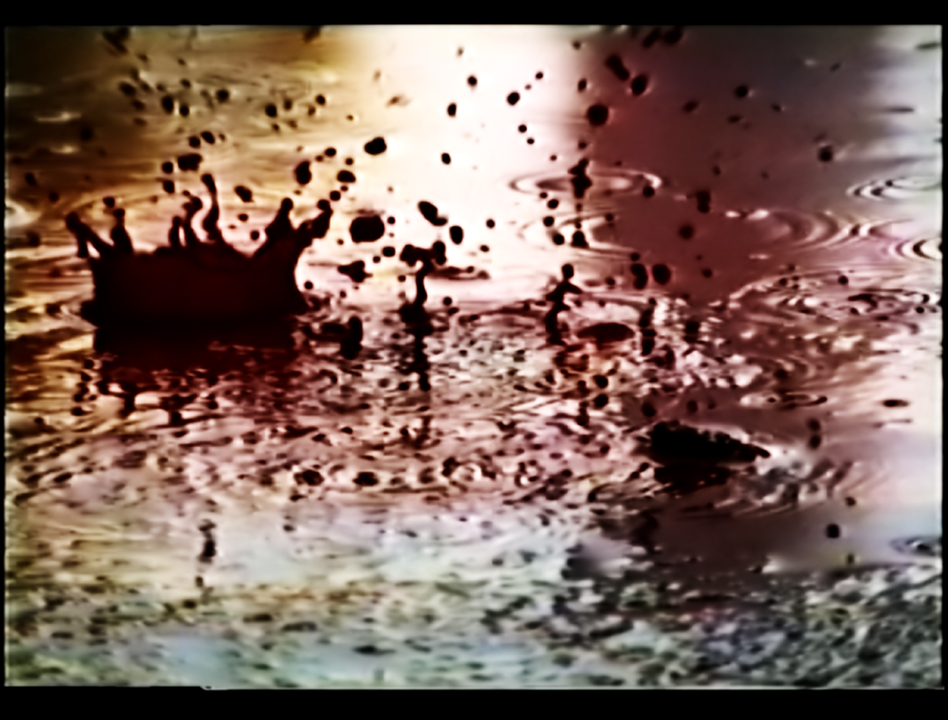 Video Art Rain Blood, a still with a drop of blood. An Art film by Barbara Agreste.