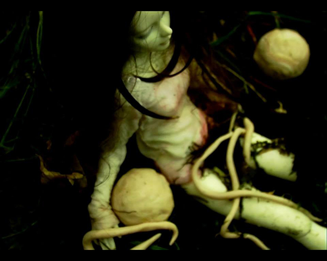 Barbara agreste's Reptilica is an animation with a doll searching for something ghostly sneaking...