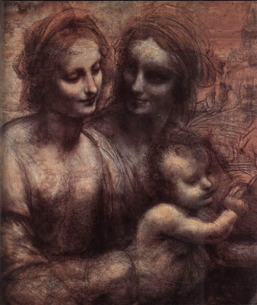 Leonardo Da Vinci,The Virgin and Child with Saint Anne and Saint John the Baptist