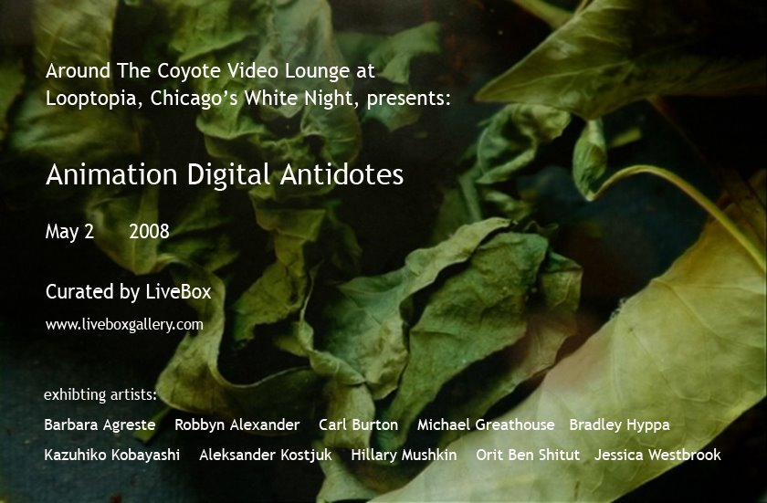 Animation digital antidotes is an exhibition curated by livebox gallery held in Chicago.